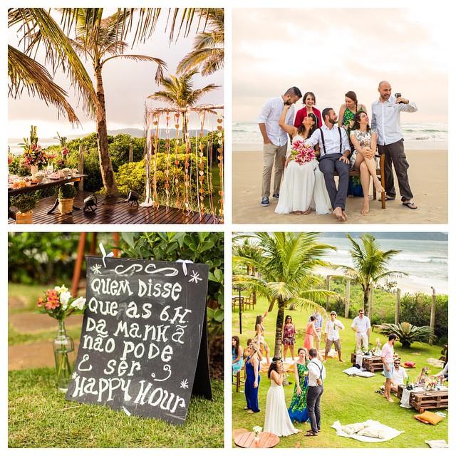 Todos os convidados animados e felizes logo cedo! Casamento leve, gostoso e alegre, mesmo começando às 6h
