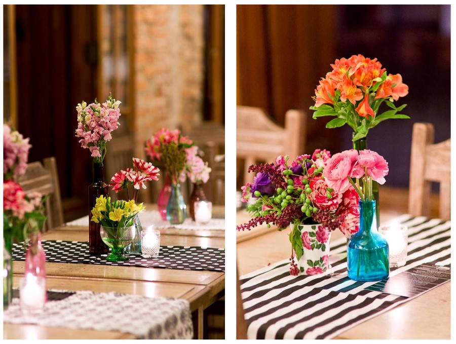 Fabiana Moura Projetos Personalizados - decoração casamento Tiella moderno toques vintages e românticos colorido com preto e branco - arranjos e caminhos de mesa pb