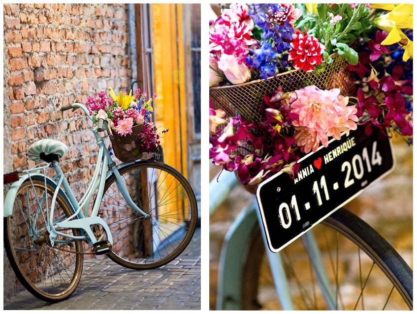Fabiana Moura Projetos Personalizados - decoração casamento Tiella moderno toques vintages e românticos colorido com preto e branco - detalhe da bicicleta
