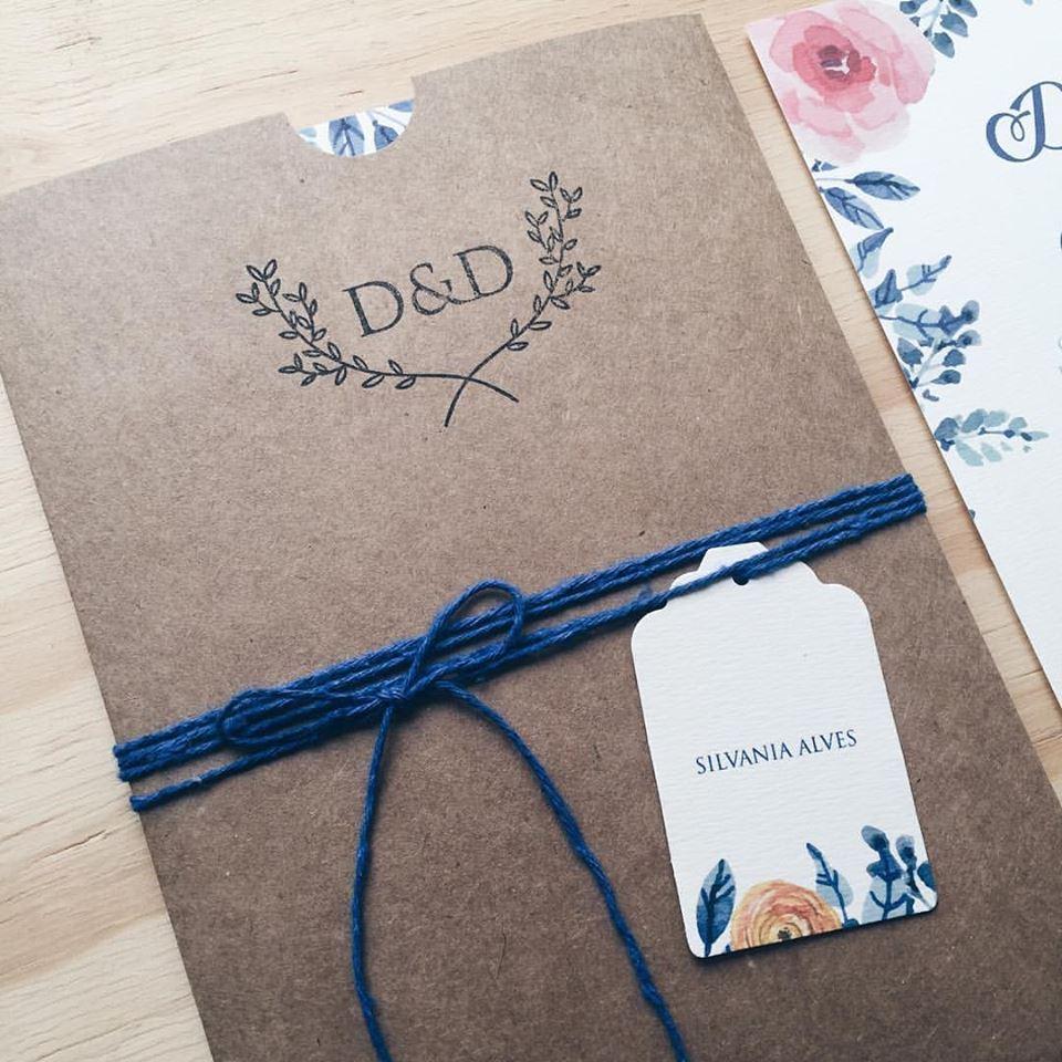 Dica de Convite de Casamento – Craft + Azul Marinho