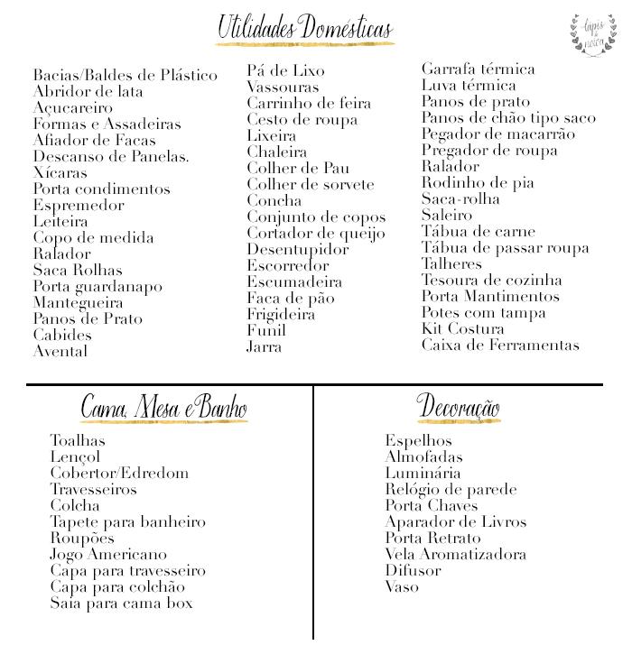 Decoração chá Como fazer a lista de presentes branco