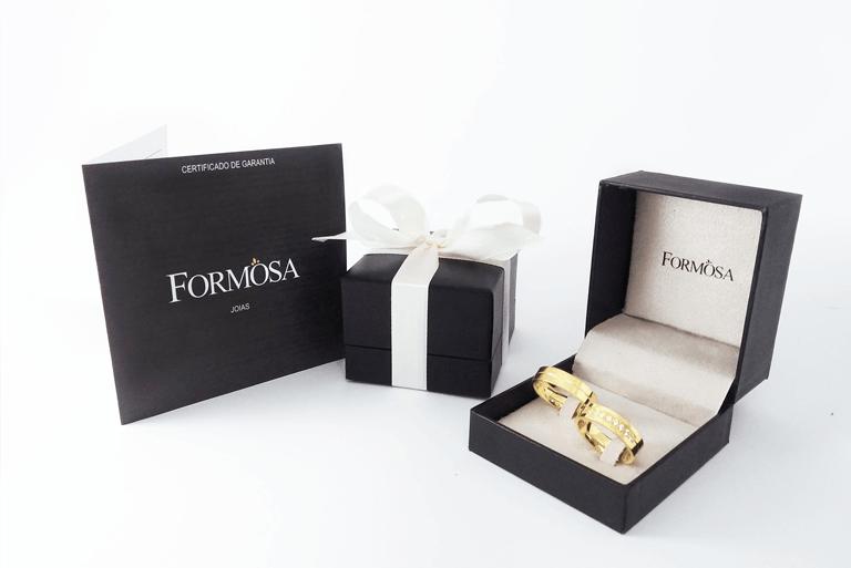 Estojo de luxo da Formosa Joias e certificado de composição e garantia