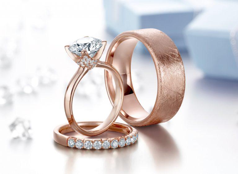 aliança de casamento rose gold