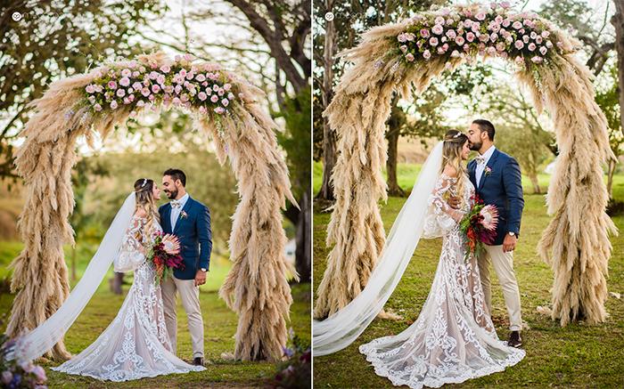 Um doce casamento boho chic em paleta marsala – Ludi & Kenzi