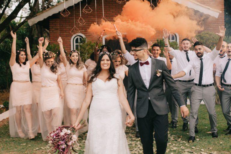 casamento delicado ao ar livre
