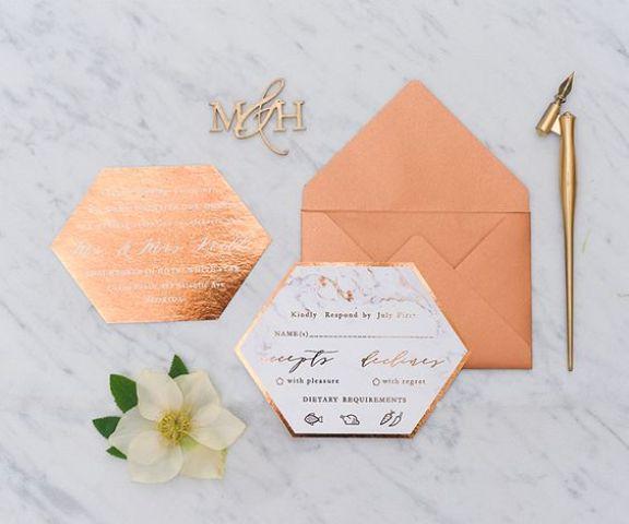 convite de casamento moderno cobre