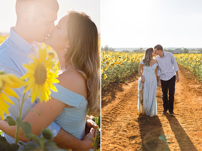 ensaio pre casamento no campo de girassol