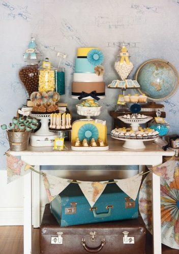 decoração-festa-noivado-viagem