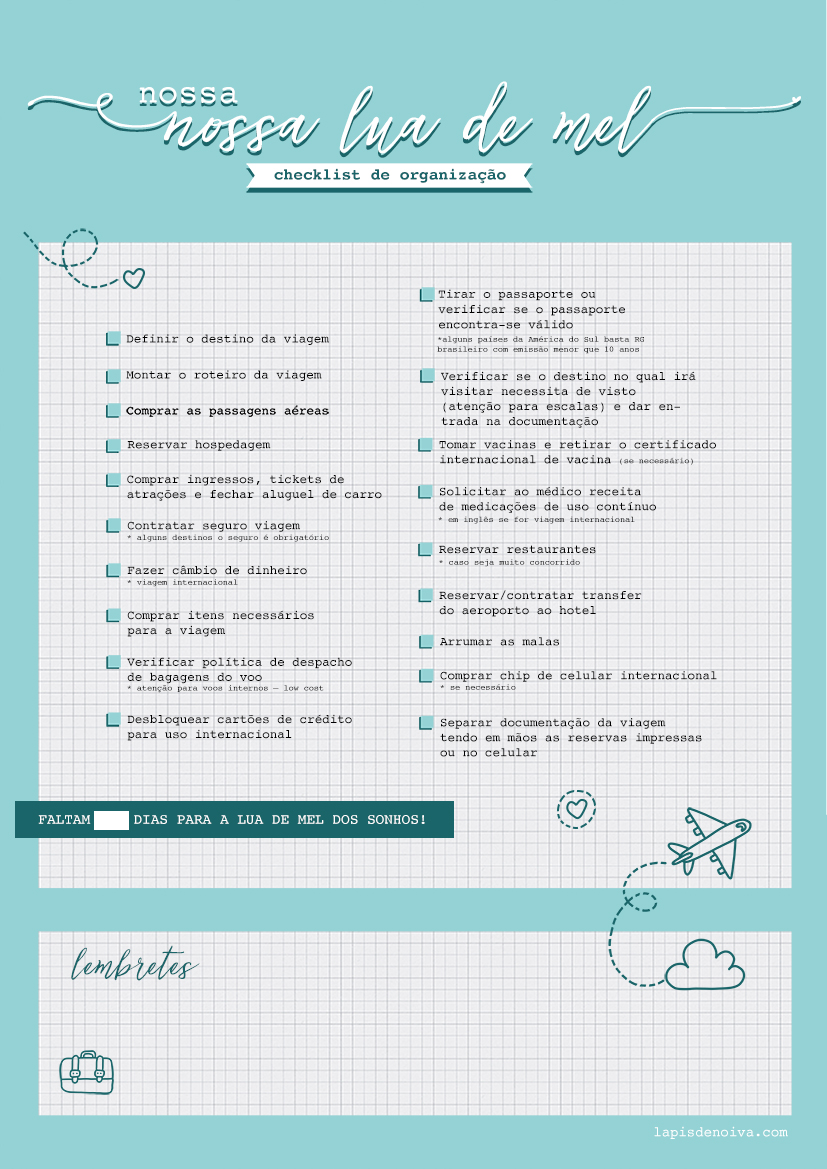 checklist lua de mel