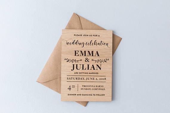 convite de casamento rústico madeira