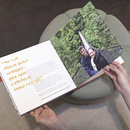 livro de casamento com realidade aumentada