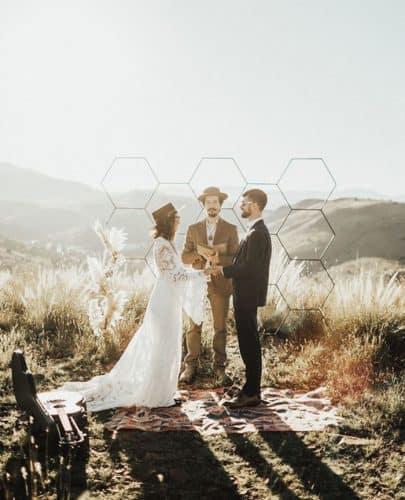 altar para casamento geométrico