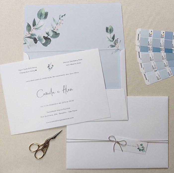 convite de casamento simples e romântico