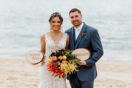 Destination Wedding tropical e exótico para dizer SIM numa tarde iluminada em São Sebastião – Nadia & Blair