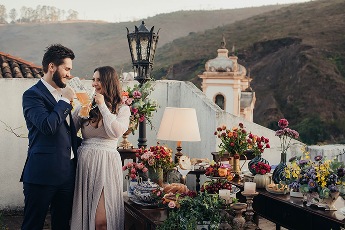 Home wedding aconchegante e intimista ao pôr do sol em Ouro Preto – Julia & Henrique