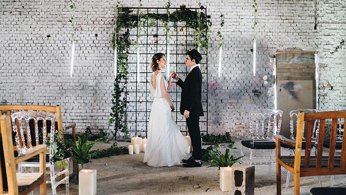 decoração casamento industrial