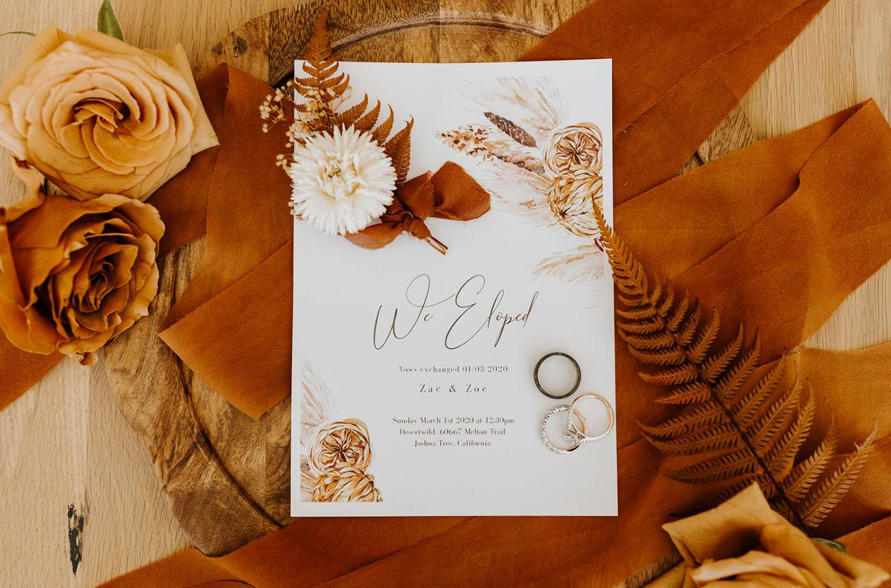 convite de elopement wedding