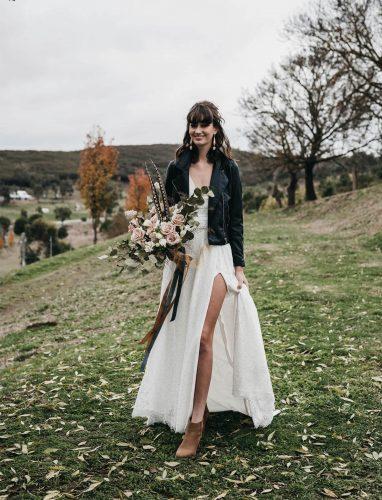 noiva casamento rústico com jaqueta